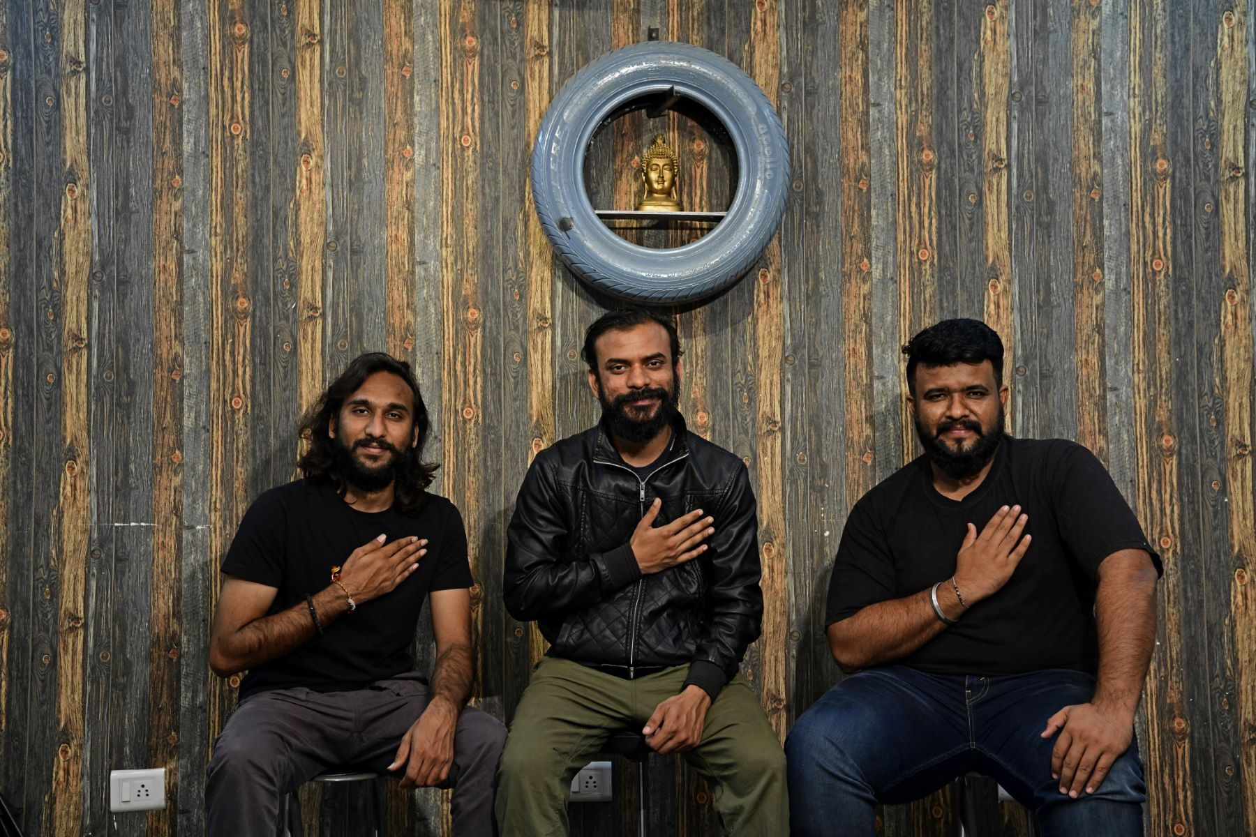 Viral Patel, Parth Bhavsar, Raj Shah of Ehsaas band, pose for a photograph at their studio, sharing the message: 'Follow your heart'.