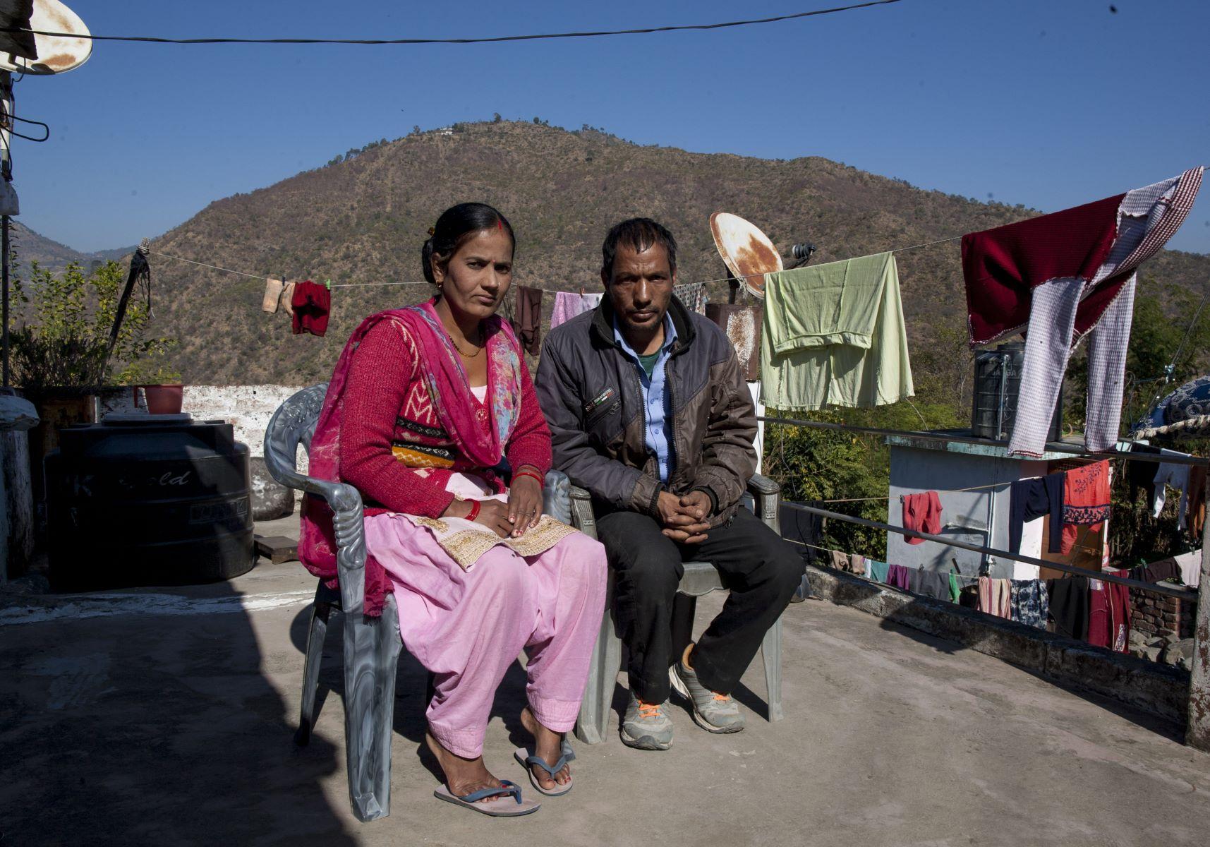 Ganga Devi and her husband Meharban Singh Rawat in their home in Badoli village