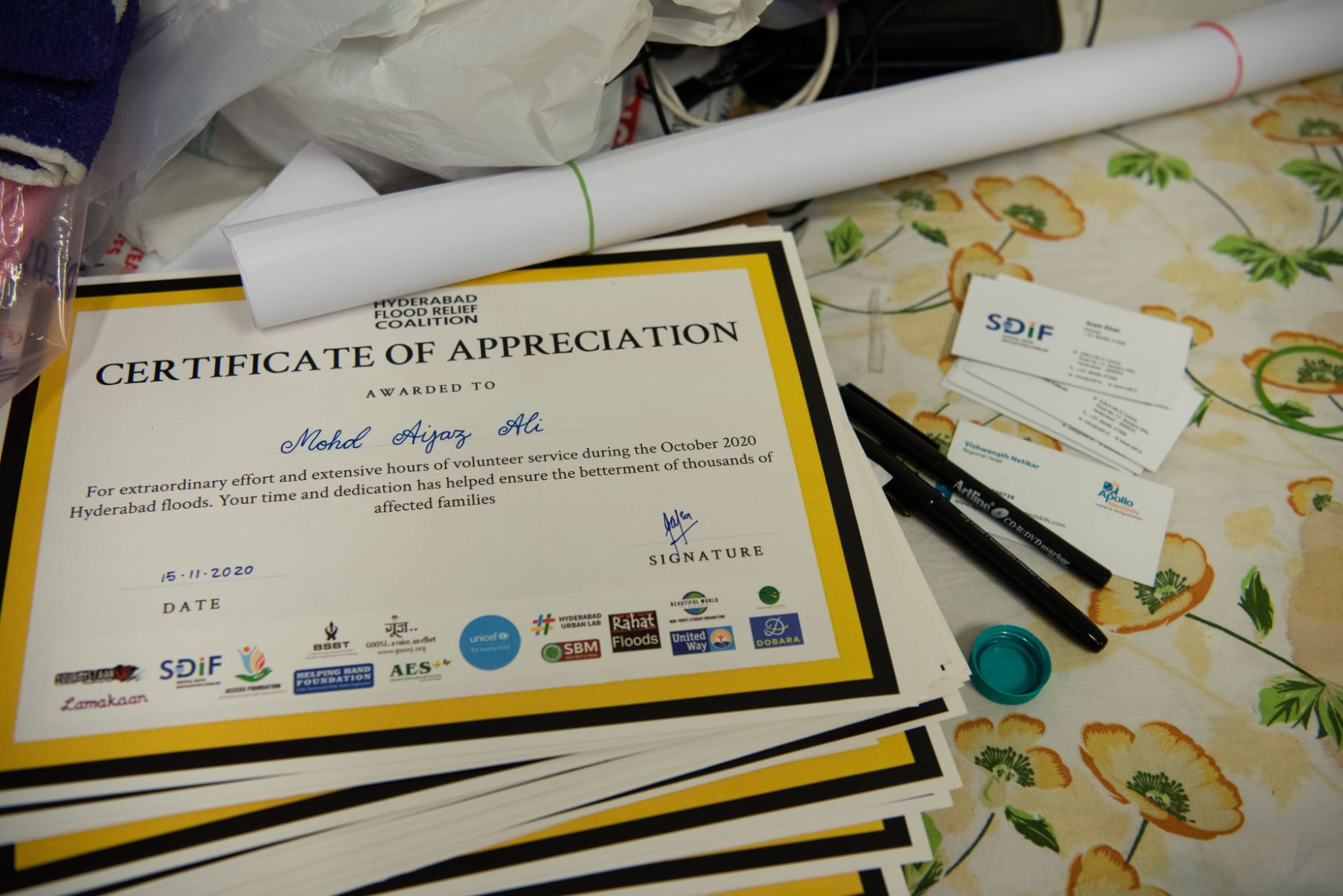 SDIF held an event to salute the valour of volunteers who waded into the water to rescue people