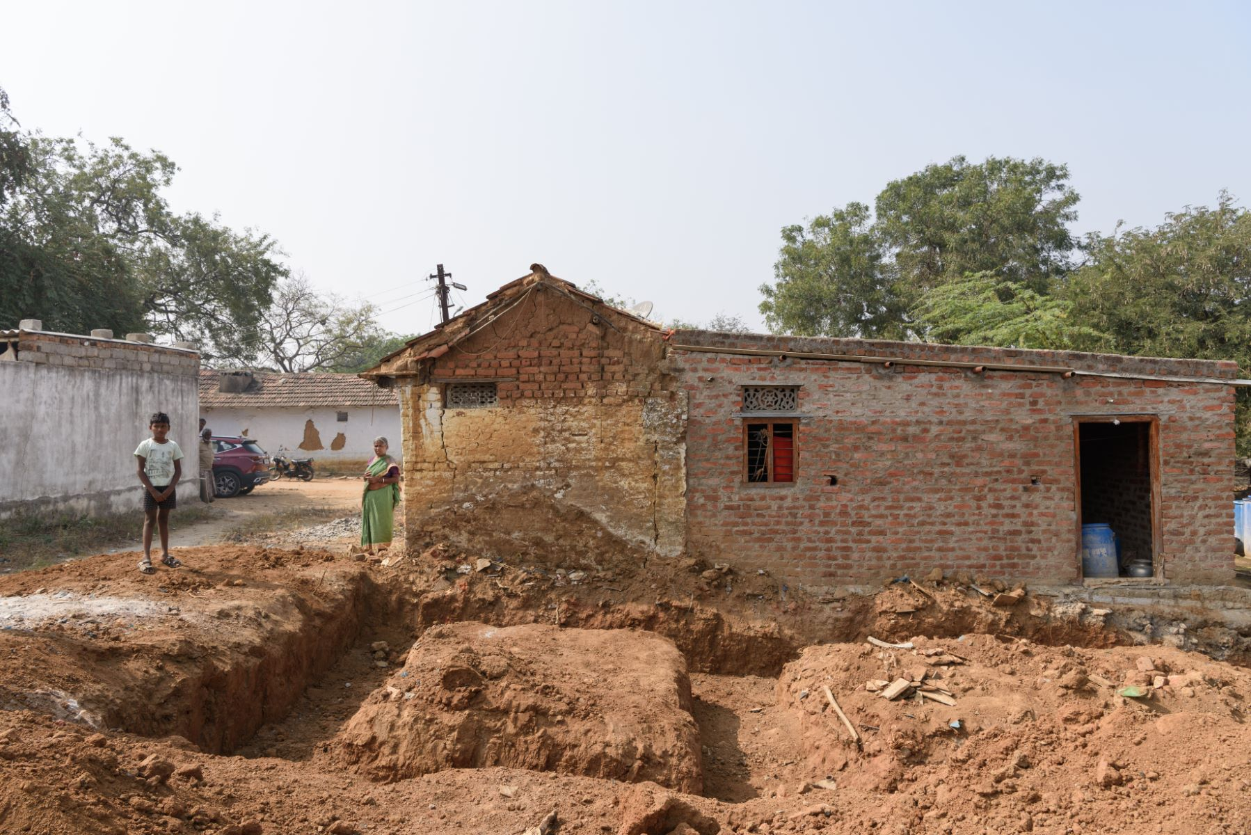 The remains Pilla Mulla Yellama's mud house that was washed away in the October rains