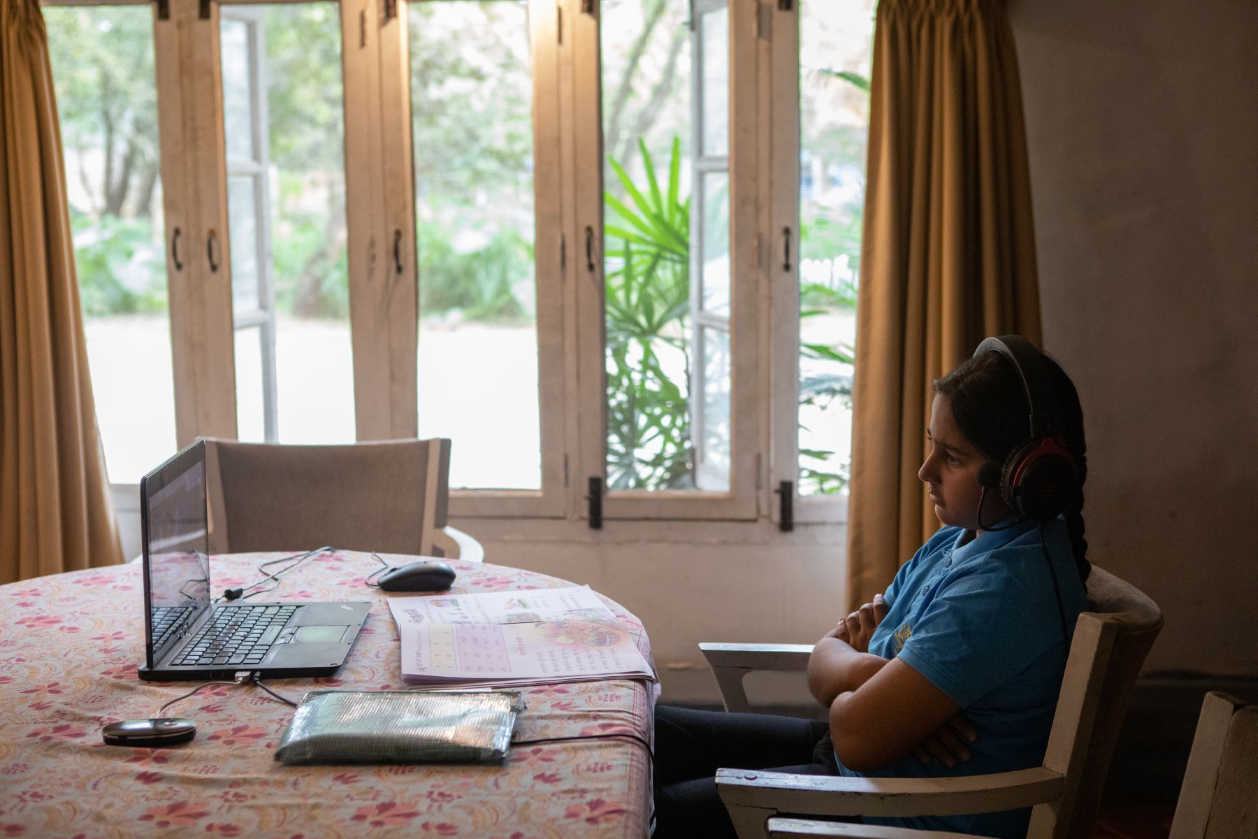 Simhasthita Singh during her online class at home in Bangalore, India.