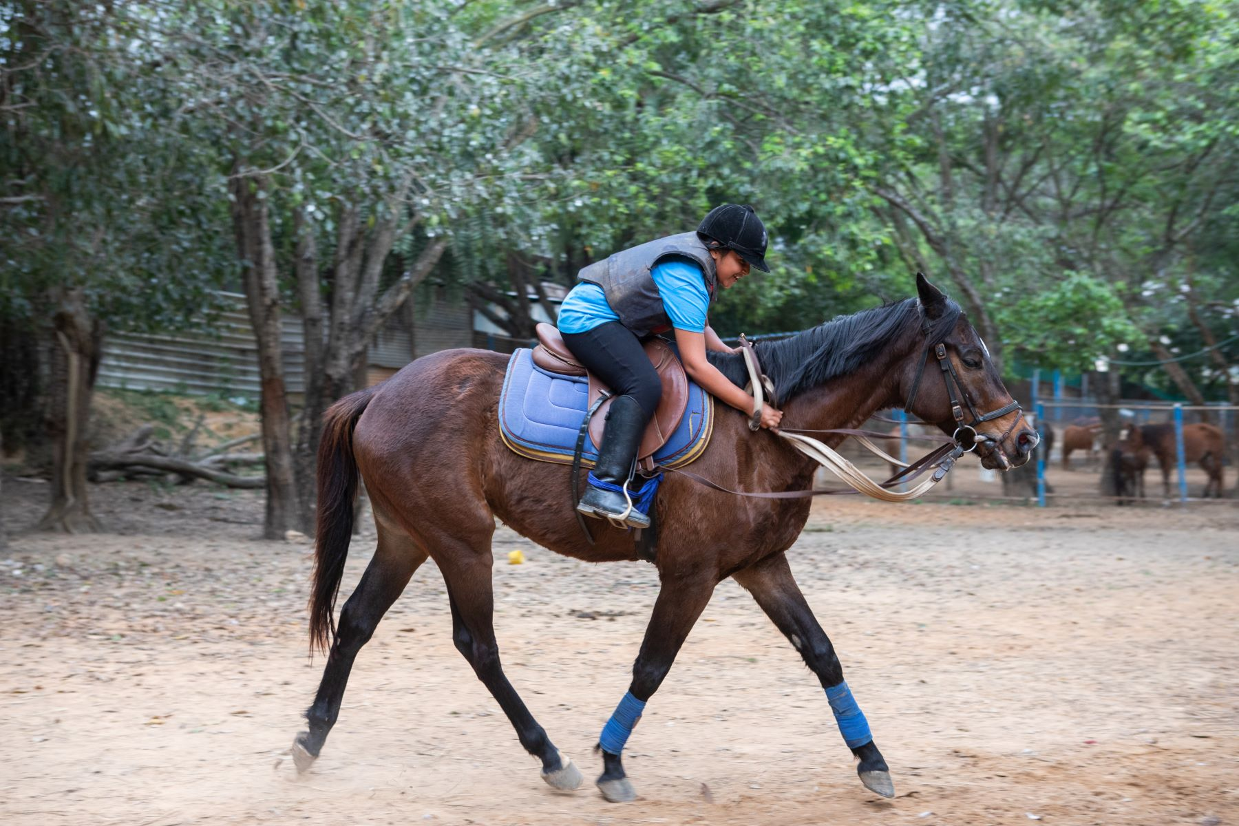 Simhasthita Singh at her riding lessons